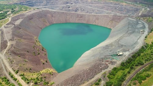 Aerial View of Flooded Quarry Mining-dressing Quarry Is Flooded