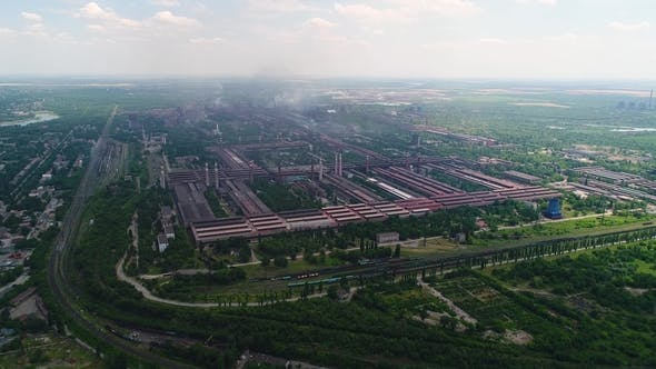 Thumbnail for Aerial Panoramic View of the Industrial City. Pollution and Smoke