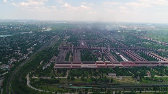 Thumbnail for Aerial Panoramic View of the Industrial City. Pollution and Smoke.