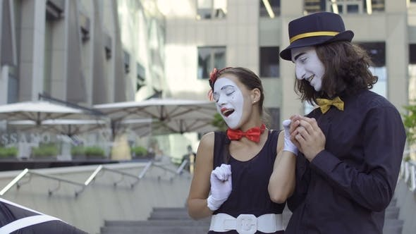 Thumbnail for Two Mimes Try To Fall in Love in Each Other Pretty Girl