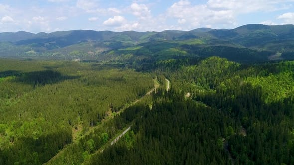 Aerial View of the Beautiful Landscape in Mountains