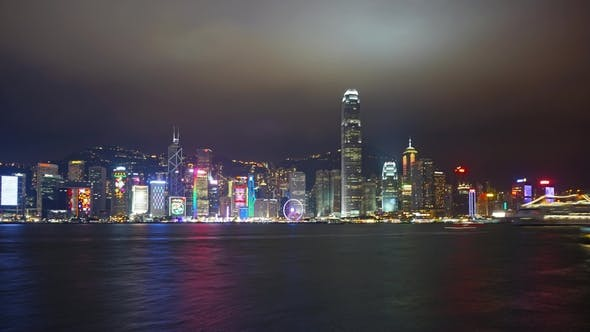 Thumbnail for Light Show in Hong Kong at Night