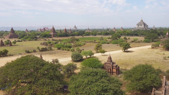 Cover Image for Panorama with Temples in Bagan, Myanmar (Burma)