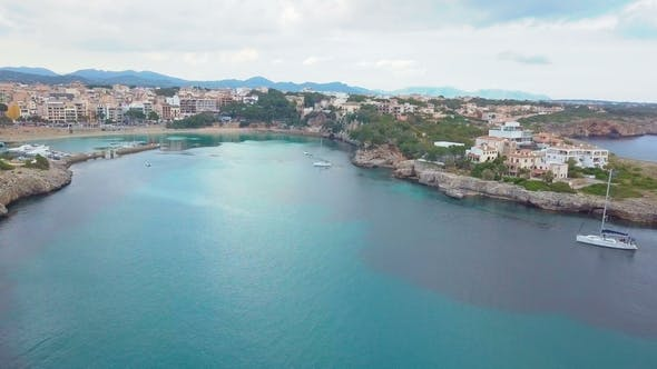 Thumbnail for Aerial View Landscape of the Beautiful Bay of Cala Anguila with a Wonderful Turquoise Sea, Porto