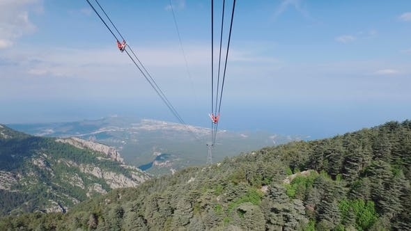 Thumbnail for View of Turkish Riviera in Sunny Clear Weather From Cabin of Cable Way on Tahtali