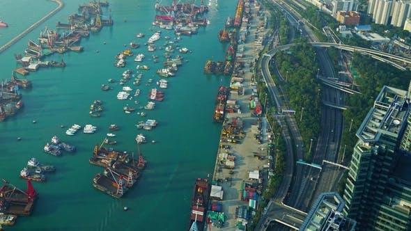 Thumbnail for Hong Kong Aerial View with Sea,