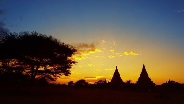 Thumbnail for Silhouette of Temples in Bagan at Sunset