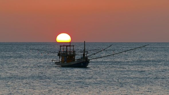 Cover Image for Fishing Boat in the Sea Against Setting Sun