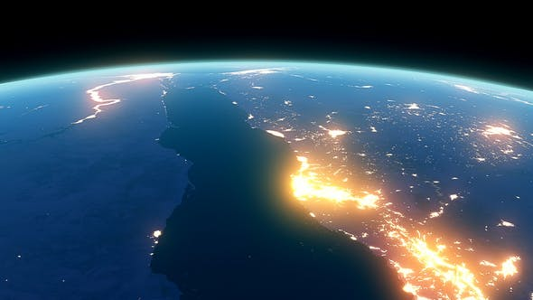 Thumbnail for 4K Earth Night Close Up High Detail Red Sea Saudi Arabia and Egypt