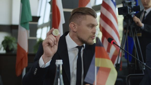 Thumbnail for German Statesman Giving Speech of Cryptocurrency