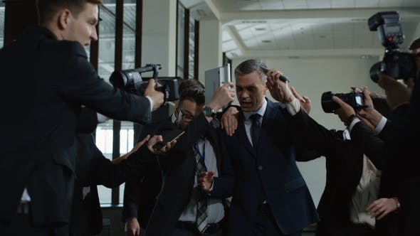 Politician Escaping From Nosy Journalists