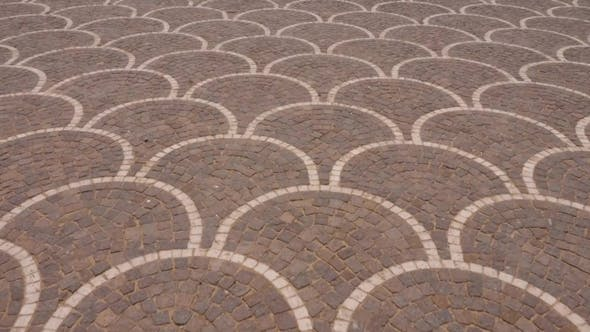 Cobbled Square Paved with Red Stone for Pedestrians