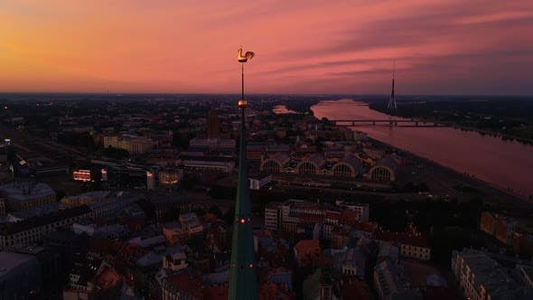Aerial View Amazing Old Town Center During Scenic Vivid Sunrise