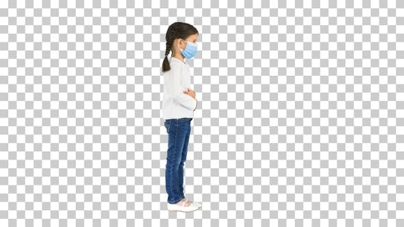 Thumbnail for Little girl wearing protective face mask, Alpha Channel