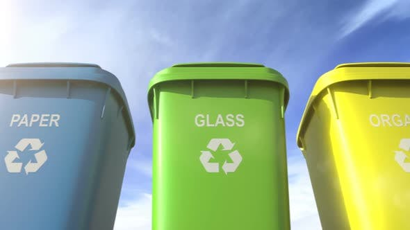 Cover Image for Multi Colored Garbage Bins with Waste Type Separation Labels and Recycle Logos