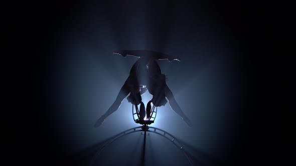 Thumbnail for Two Girl in Makes Element in the Aerial Hoop. Black Smoke Background. Silhouette