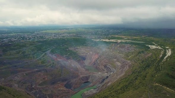 Thumbnail for Flight Over Open Cast Mine. Aerial View of Industrial Landscape After Mining