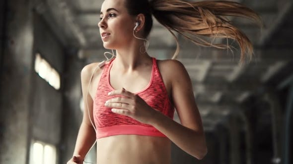 Girl Goes Jogging with Music