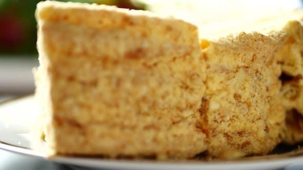Thumbnail for Napoleon Cake with Custard on Platter