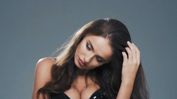 Thumbnail for Sensual Portrait of Glamour Elegant Brunette Woman Model with Curly Hair