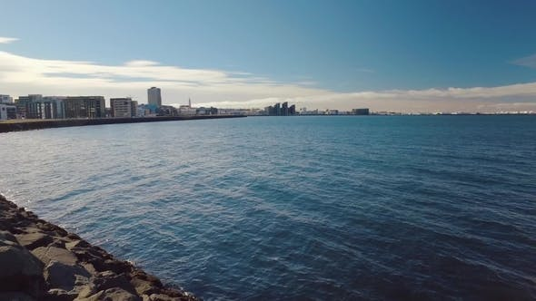Thumbnail for Waters of Atlantic Ocean and Panorama of Reykjavik in Sunny Weather, View From New Harbor