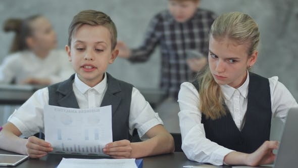 Thumbnail for Cute Children in Business Clothing in Business Center Working