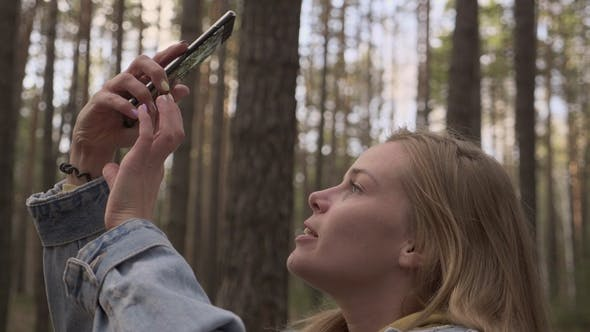 Thumbnail for Girl Making a Photo of Forest at Smartphone Camera