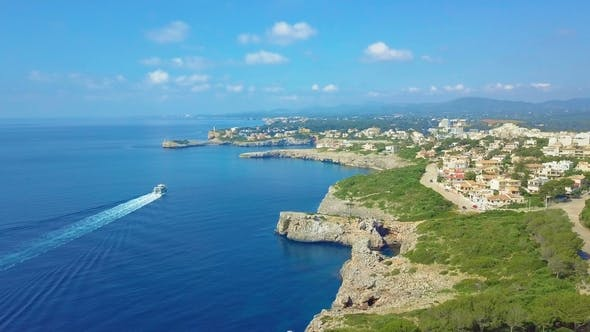 Cover Image for Cruise Ship Sailing Across The Mediterranean Sea - Aerial Footage