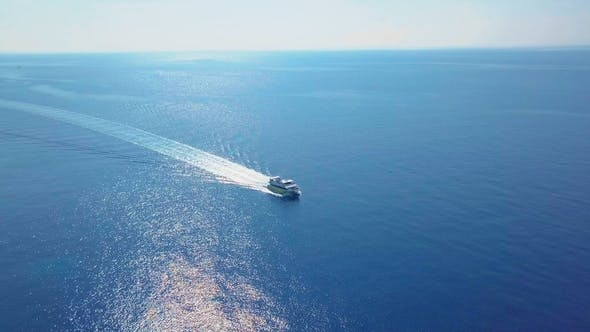 Thumbnail for Cruise Ship Sailing Across The Mediterranean Sea - Aerial Footage