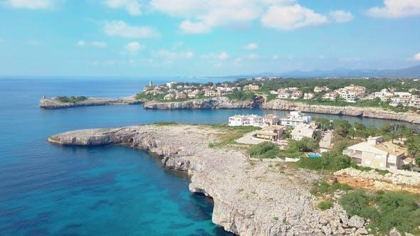 Thumbnail for Aerial Landscape of the Beautiful Bay of Cala Mandia with a Wonderful Turquoise Sea, Porto Cristo