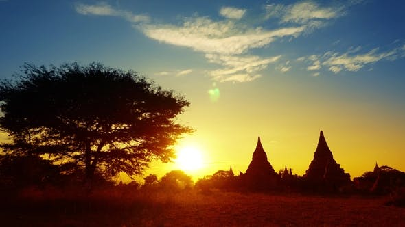 Thumbnail for Silhouette of Temples and Tree in Bagan at Sunset
