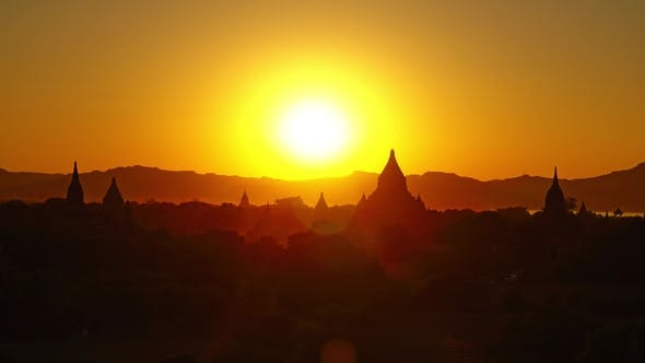 Thumbnail for Silhouette of Temples in Bagan at Sunset, Myanmar