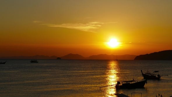 Thumbnail for Landscape on the Ao Nang Beach at Sunset