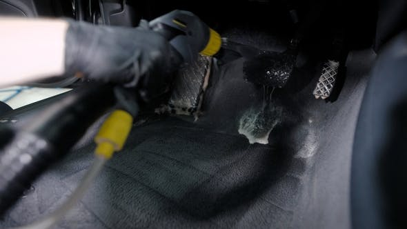 Thumbnail for Shot of a Master in Gloves Using Washing Vacuum Cleaner for Car's Headliner.