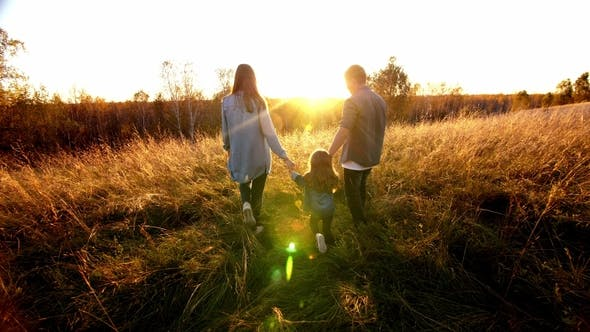 Thumbnail for Happy Family, Father, Mother, Daughter in Nature, Sunset