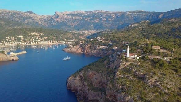 Thumbnail for Port De Soller Aerial View, Majorca. Mediterranean Sea.