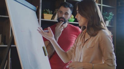 Marketing Team Discussing Marketing Campaign on Marker Board in Office