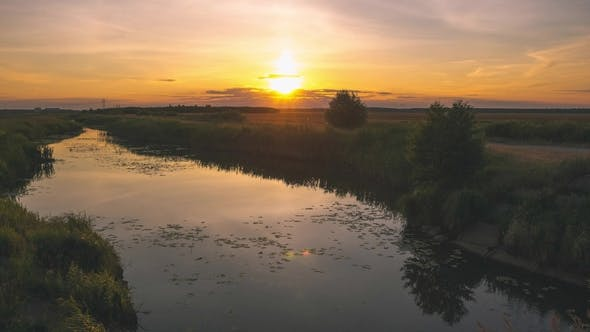 Thumbnail for Summer Nature with a River at Sunset Time