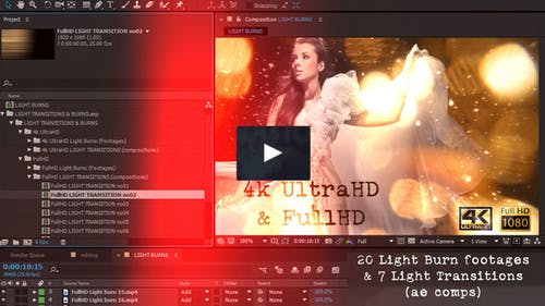 Light transitions & burns (AE project & footages)