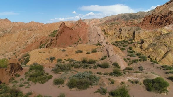 Cover Image for Red Canyon and Blue Sky at Sunny Day. Aerial View