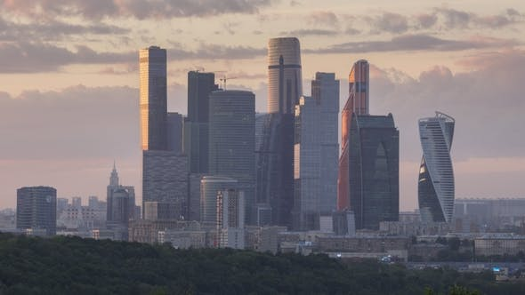 Thumbnail for Moscow City Business Center Skyscrapers at Sunset. Russia