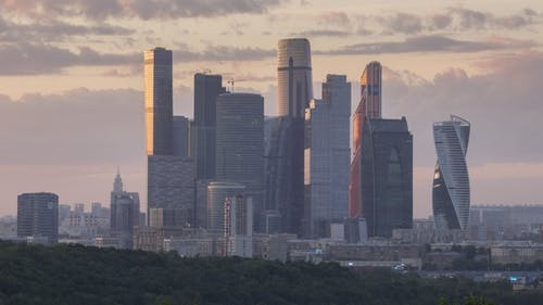 Moscow City Business Center Skyscrapers at Sunset. Russia
