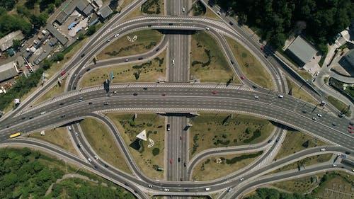 Aerial View of a Turbine Road Interchange in Kiev. Cityscape in Summer.