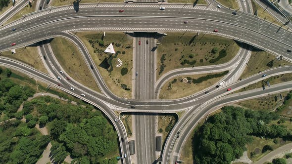 Thumbnail for Aerial View of a Turbine Road Interchange in Kiev. Cityscape in Summer