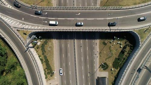 Aerial View of a Turbine Road Interchange in Kiev. Cityscape in Summer