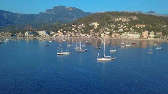 Thumbnail for Aerial View Yacht and Sailboats Moored at the Quay