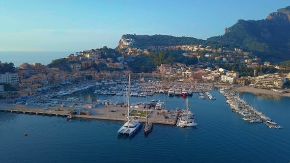 Thumbnail for Aerial View of a Sailboat Near the Coast of Majorca, Spain