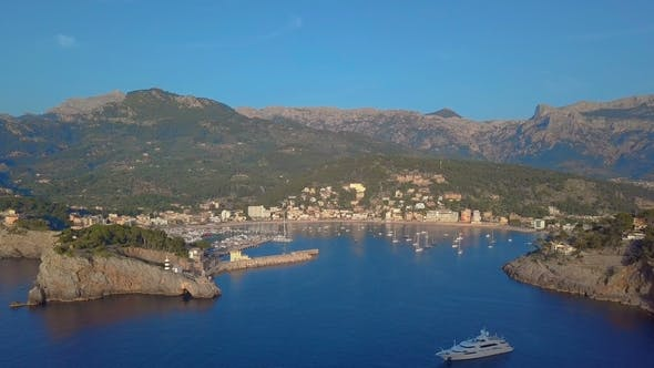 Thumbnail for Port De Soller Aerial View, Majorca Mediterranean Sea.