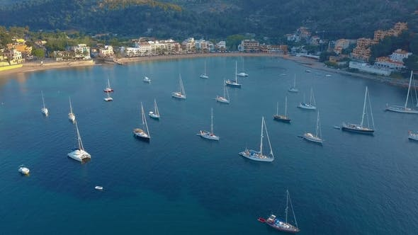 Thumbnail for Aerial View of a Sailboat Near the Coast of Majorca Spain