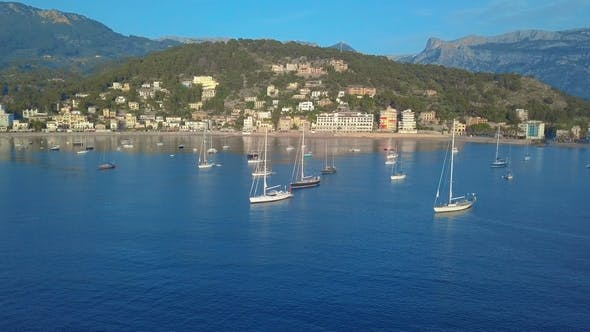 Thumbnail for Aerial View. Yacht and Sailboats Moored at the Quay